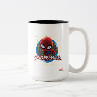 Mini Stylized Spider-Man in Web Two-Tone Coffee Mug