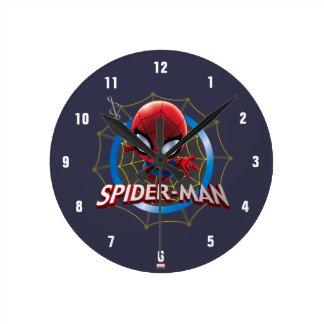 Mini Stylized Spider-Man in Web Wall Clock