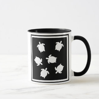 mini turtles black and white, mini turtles blac... mug
