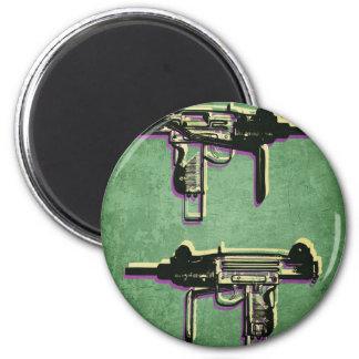 Mini Uzi Sub Machine Gun on Green Magnet