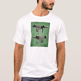 Mini Uzi Sub Machine Gun on Green T-Shirt