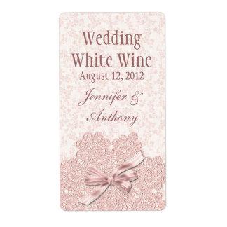 Mini vin de mariage victorien rose minable étiquette d'expédition