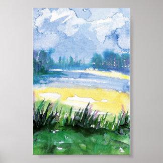 mini watercolor landscape print