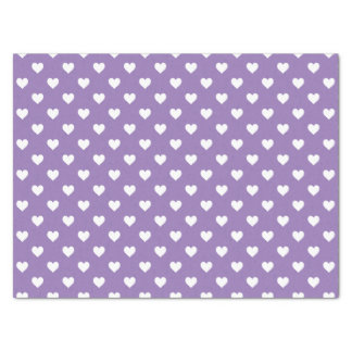 Mini White Hearts on Purple Tissue Paper