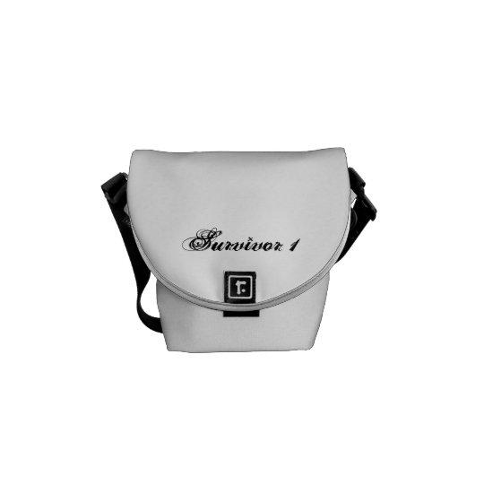 Mini White Survivor 1 Messenger Bag With Black Tex