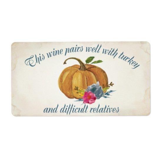 Mini Wine Label Bridal - Thanksgiving Shipping Label