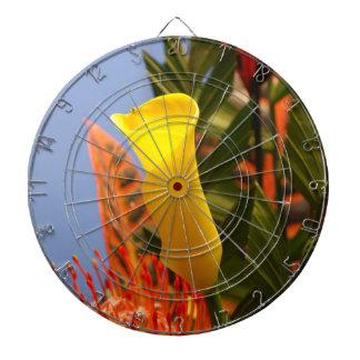 mini yellow calla lily dart board