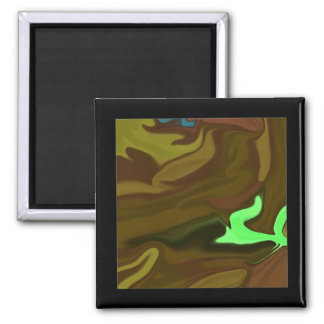 Miniature art in brown abstract square magnet