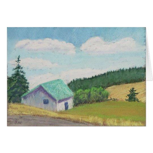 Miniature Barn Set – Green Barn Greeting Card