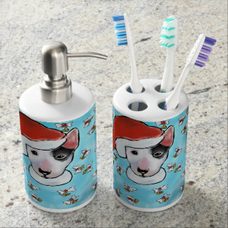 Miniature Bull Terrier Bathroom Set