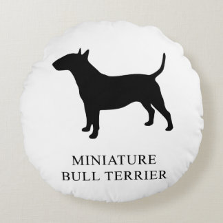 Miniature Bull Terrier Round Pillow