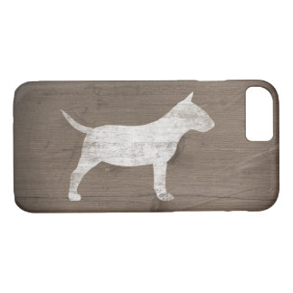 Miniature Bull Terrier Silhouette Rustic iPhone 7 Case