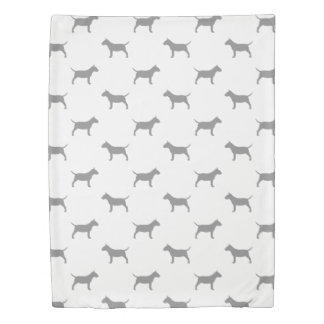 Miniature Bull Terrier Silhouettes Pattern Duvet Cover