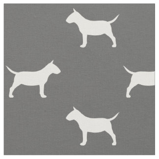 Miniature Bull Terrier Silhouettes Pattern Fabric