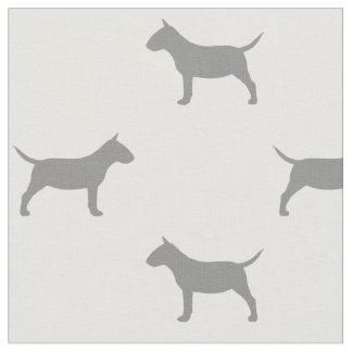 Miniature Bull Terrier Silhouettes Pattern Fabric