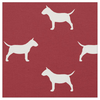 Miniature Bull Terrier Silhouettes Pattern Red Fabric
