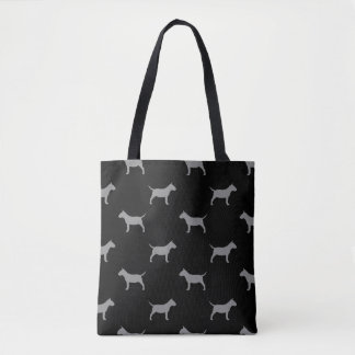 Miniature Bull Terrier Silhouettes Pattern Tote Bag
