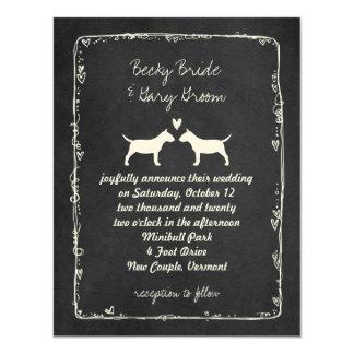 Miniature Bull Terrier Silhouettes Wedding Card