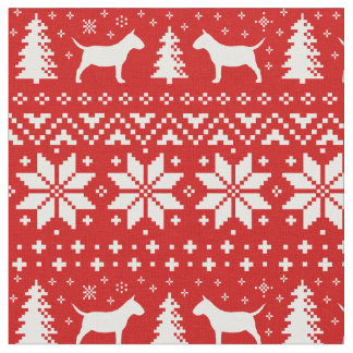 Miniature Bull Terriers Christmas Pattern Red Fabric