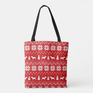 Miniature Bull Terriers Christmas Pattern Red Tote Bag