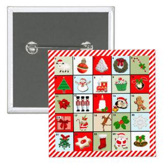 miniature Christmas advent calendar 2 Inch Square Button
