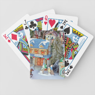 Miniature christmas village bicycle playing cards