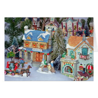 Miniature christmas village greeting card