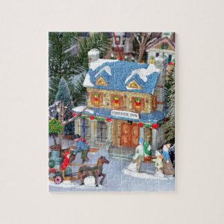 Miniature christmas village jigsaw puzzle