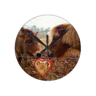 Miniature Donkey & Horse Valentine Heart Wall Clocks