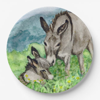 Miniature Donkey Mom and Baby Watercolor Art 9 Inch Paper Plate