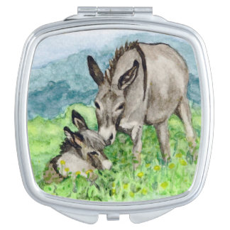 Miniature Donkey Mom and Baby Watercolor Art Makeup Mirrors
