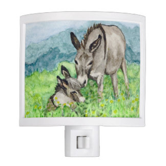 Miniature Donkey Mom and Baby Watercolor Art Nite Light