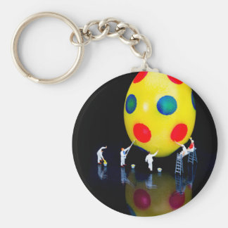 Miniature figurines painting yellow easter egg basic round button keychain