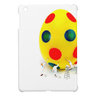 Miniature figurines painting yellow easter egg case for the iPad mini