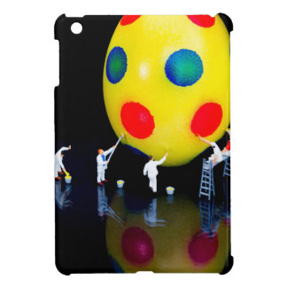 Miniature figurines painting yellow easter egg iPad mini cases