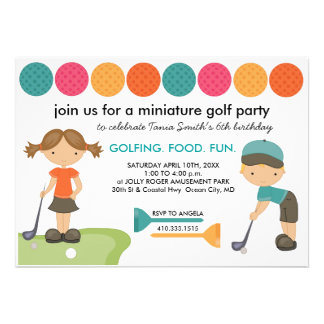Miniature Golf Birthday Party Invitations for Kids