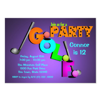 "Miniature Golf Party 5"" X 7"" Invitation Card"