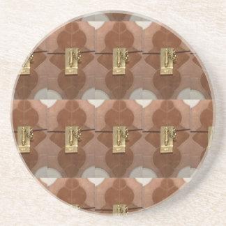 Miniature lock pattern brass shine fashion DIY fun Coaster
