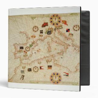 Miniature Nautical Map of the Central Mediterranea 3 Ring Binder