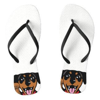 Miniature Pinscher Blk Min Pin Dog Flip Flops