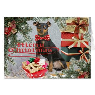 Miniature Pinscher Brings Christmas Greetings Card