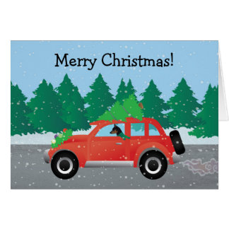 Miniature Pinscher Christmas Car Card