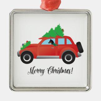 Miniature Pinscher Christmas Car Metal Ornament