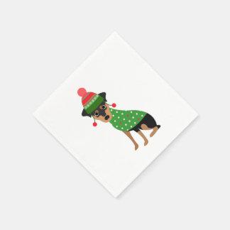 Miniature Pinscher Christmas Napkins Paper Napkins