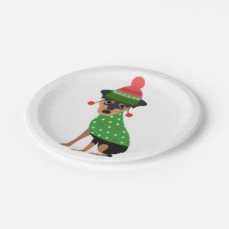 Miniature Pinscher Christmas Paper Plates