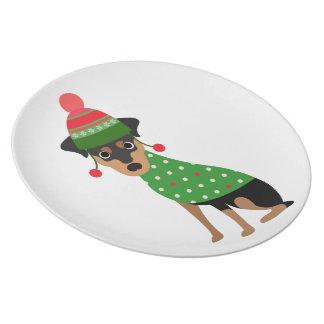 Miniature Pinscher Christmas Plate