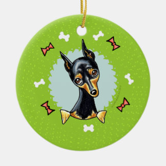 Miniature Pinscher Christmas Wreath Ceramic Ornament