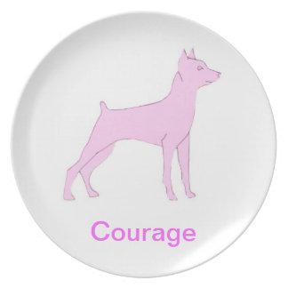 Miniature Pinscher Courage Cancer Awareness Plate