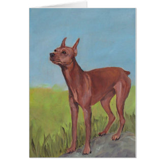 Miniature Pinscher Dog Art Greeting Card