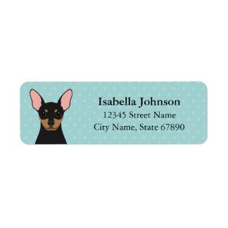 Miniature Pinscher Dog Blue Return Address Label